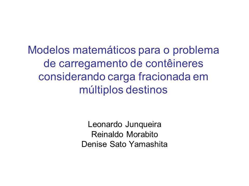 Modelos matemáticos para o problema de carregamento de contêineres considerando carga fracionada em múltiplos destinos Leonardo Junqueira Reinaldo Mor