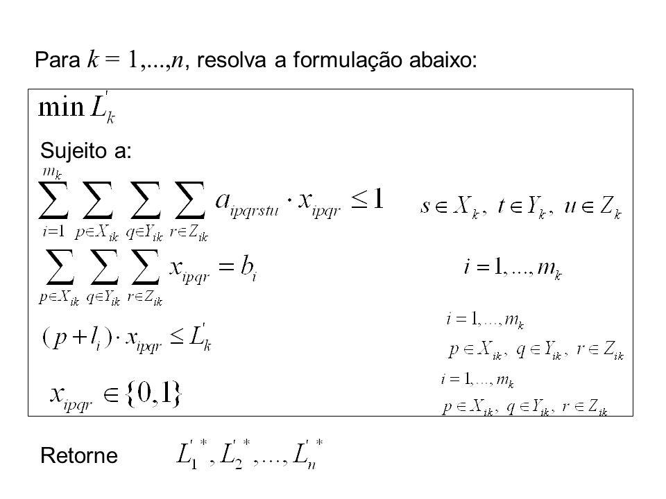 Para k = 1,...,n, resolva a formulação abaixo: Sujeito a: Retorne