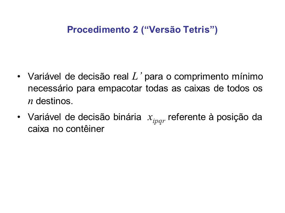 Procedimento 2 (Versão Tetris) Variável de decisão real L para o comprimento mínimo necessário para empacotar todas as caixas de todos os n destinos.