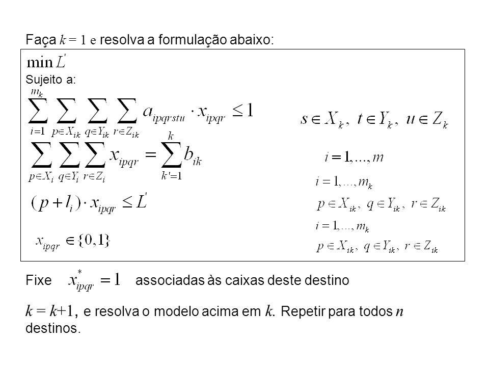 Faça k = 1 e resolva a formulação abaixo: Sujeito a: Fixeassociadas às caixas deste destino k = k+1, e resolva o modelo acima em k. Repetir para todos