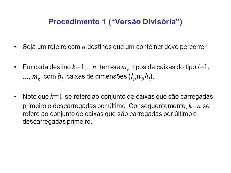 Procedimento 1 (Versão Divisória) Seja um roteiro com n destinos que um contêiner deve percorrer Em cada destino k=1,...n tem-se m k tipos de caixas d
