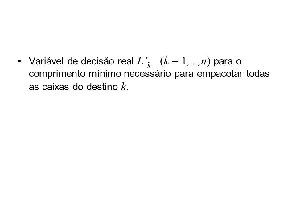 Variável de decisão real L k (k = 1,...,n) para o comprimento mínimo necessário para empacotar todas as caixas do destino k.