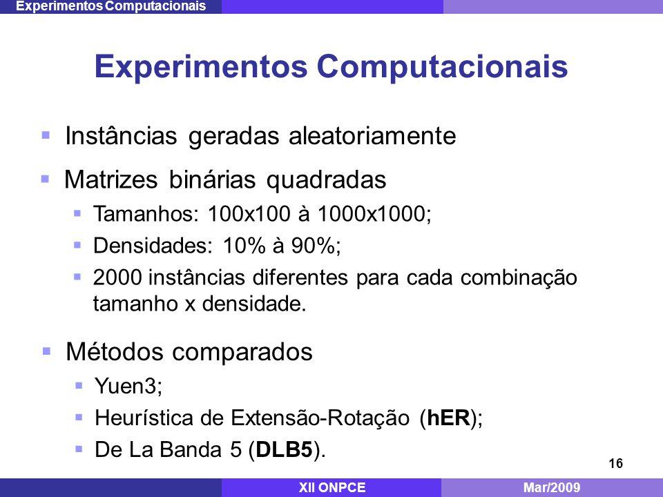 16 Instâncias geradas aleatoriamente Experimentos Computacionais Mestrado - ITA Dez/2008 Experimentos Computacionais Matrizes binárias quadradas Tamanhos: 100x100 à 1000x1000; Densidades: 10% à 90%; 2000 instâncias diferentes para cada combinação tamanho x densidade.