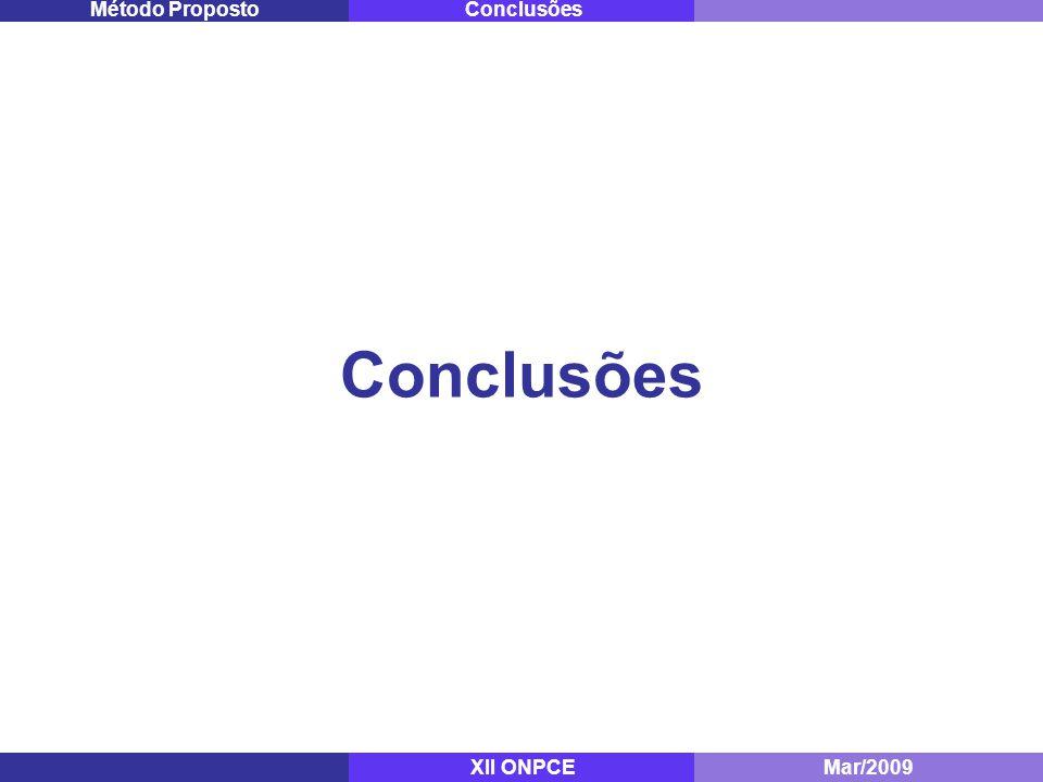 Conclusões Mestrado - ITA Dez/2008 ConclusõesMétodo Proposto XII ONPCEMar/2009