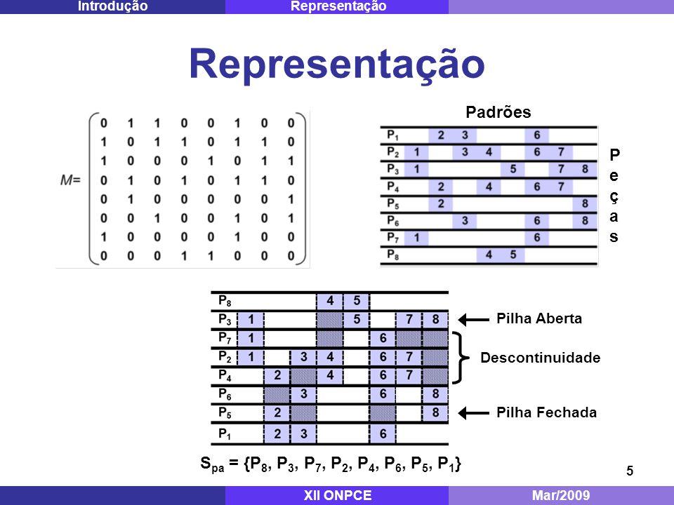 5 Representação PeçasPeças Padrões Mestrado - ITA Dez/2008 RepresentaçãoIntrodução Descontinuidade Pilha Aberta Pilha Fechada S pa = {P 8, P 3, P 7, P 2, P 4, P 6, P 5, P 1 } XII ONPCEMar/2009