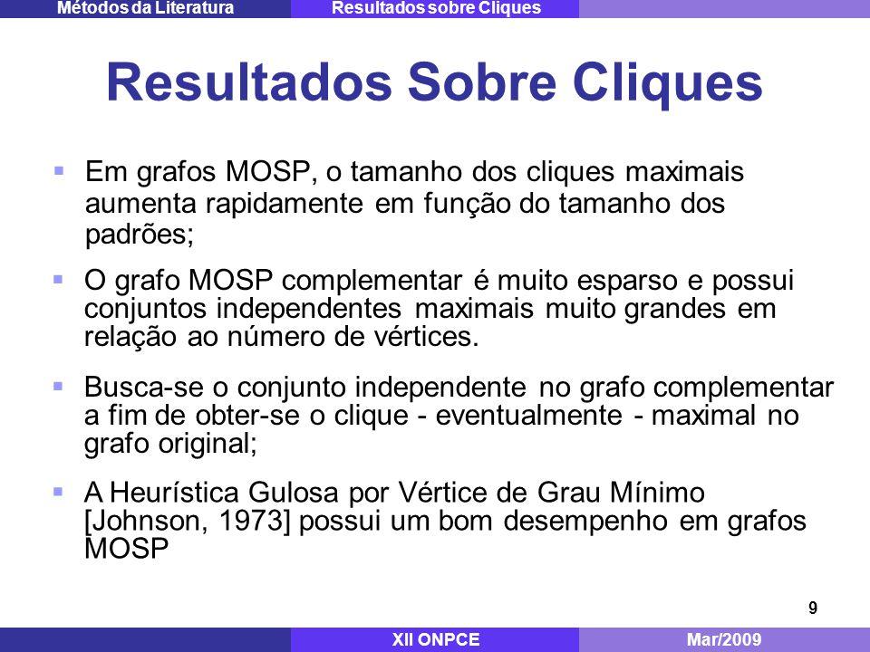 20 Melhoria da Solução Inicial Mestrado - ITA Dez/2008 Experimentos ComputacionaisMétodo Proposto XII ONPCEMar/2009