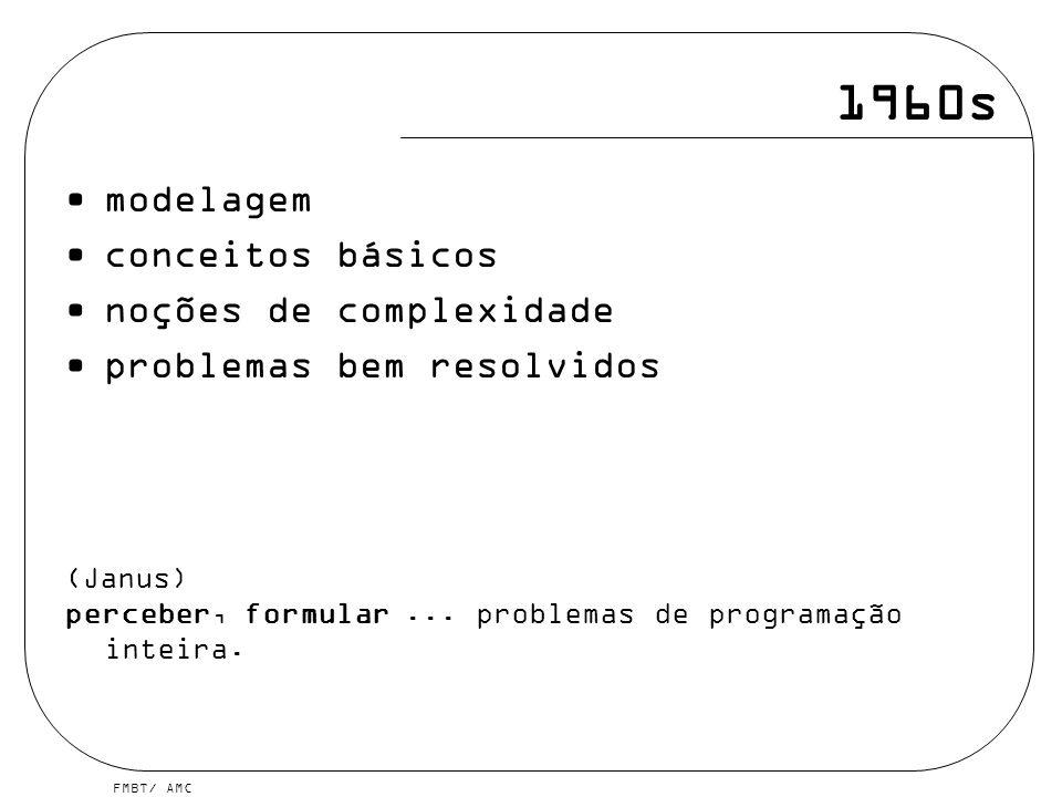 FMBT/ AMC 1960s modelagem conceitos básicos noções de complexidade problemas bem resolvidos (Janus) perceber, formular...