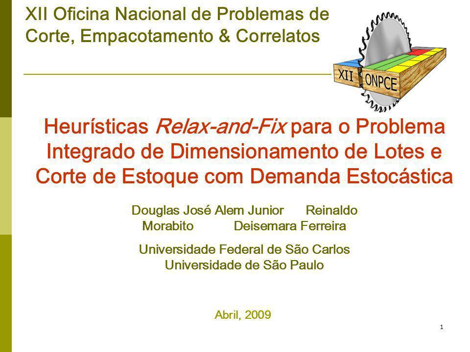 1 Heurísticas Relax-and-Fix para o Problema Integrado de Dimensionamento de Lotes e Corte de Estoque com Demanda Estocástica Douglas José Alem Junior