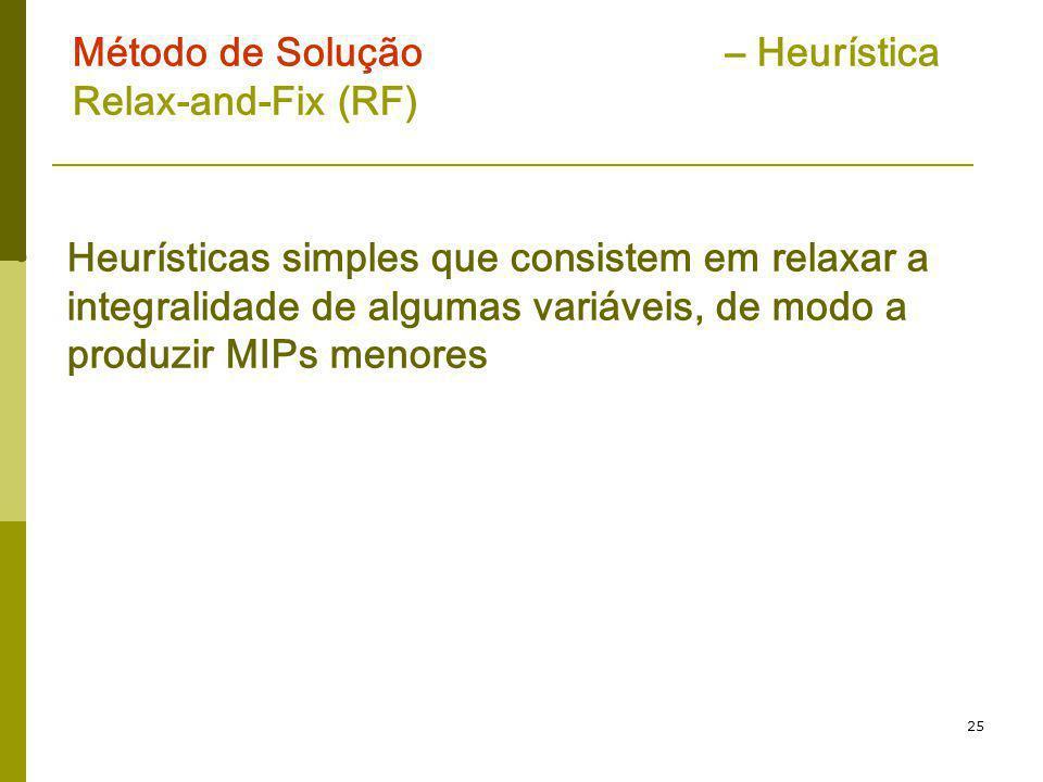25 Método de Solução – Heurística Relax-and-Fix (RF) Heurísticas simples que consistem em relaxar a integralidade de algumas variáveis, de modo a prod