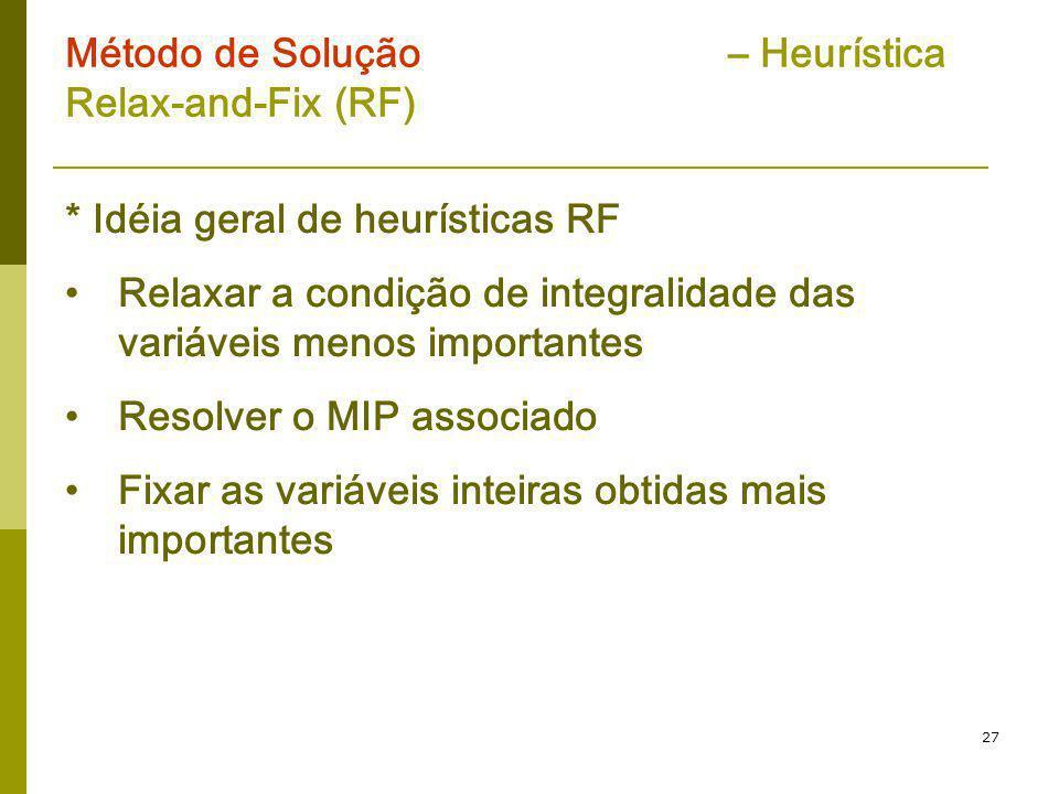 27 Método de Solução – Heurística Relax-and-Fix (RF) * Idéia geral de heurísticas RF Relaxar a condição de integralidade das variáveis menos important
