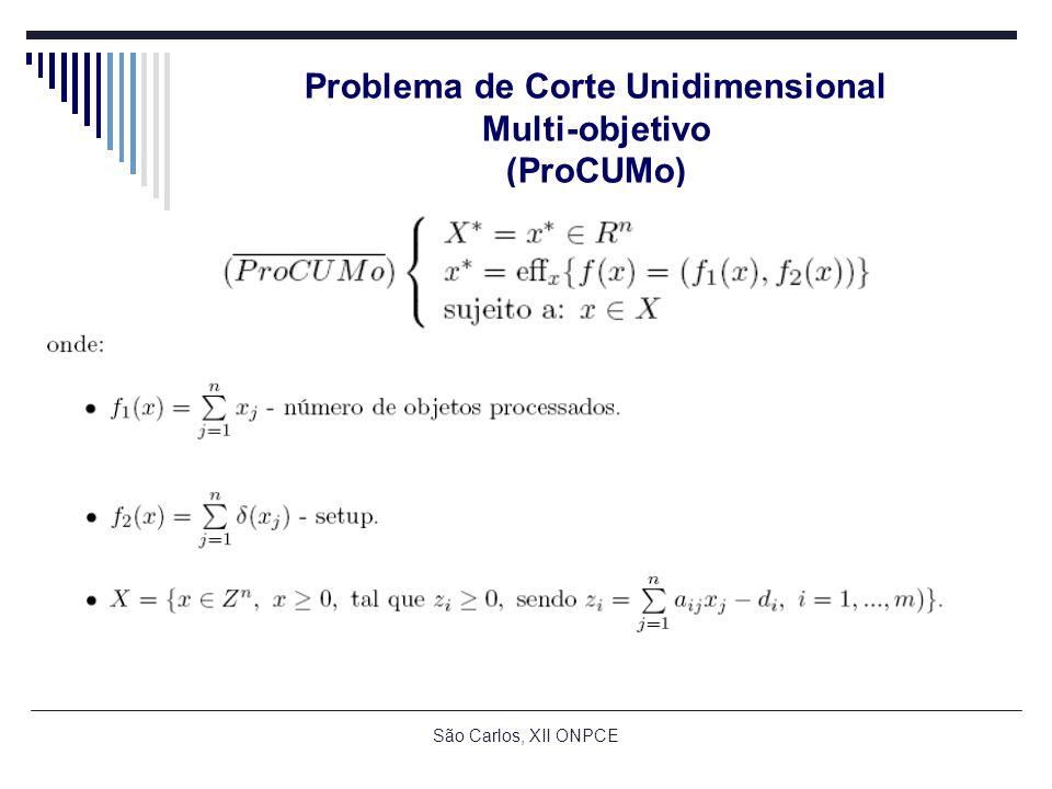 São Carlos, XII ONPCE Problema de Corte Unidimensional Multi-objetivo (ProCUMo)