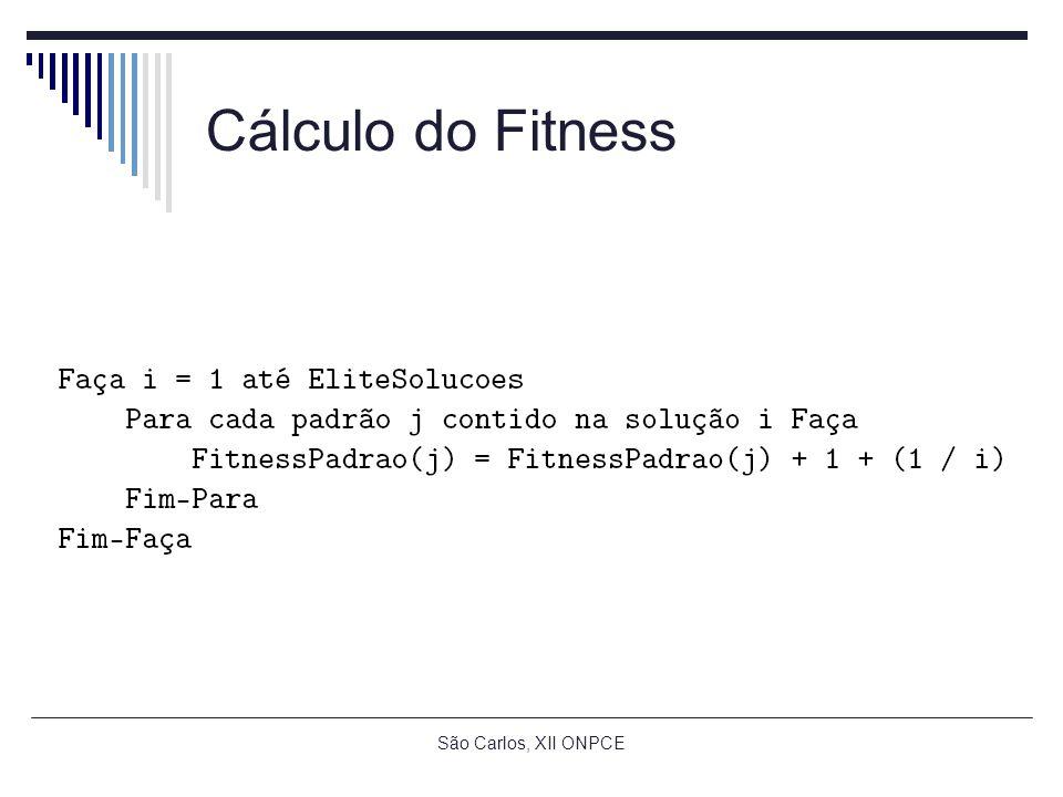 São Carlos, XII ONPCE Cálculo do Fitness