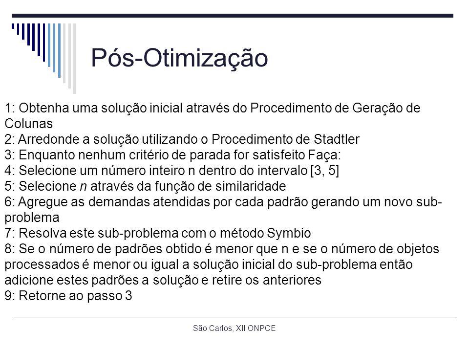 São Carlos, XII ONPCE Pós-Otimização 1: Obtenha uma solução inicial através do Procedimento de Geração de Colunas 2: Arredonde a solução utilizando o Procedimento de Stadtler 3: Enquanto nenhum critério de parada for satisfeito Faça: 4: Selecione um número inteiro n dentro do intervalo [3, 5] 5: Selecione n através da função de similaridade 6: Agregue as demandas atendidas por cada padrão gerando um novo sub- problema 7: Resolva este sub-problema com o método Symbio 8: Se o número de padrões obtido é menor que n e se o número de objetos processados é menor ou igual a solução inicial do sub-problema então adicione estes padrões a solução e retire os anteriores 9: Retorne ao passo 3