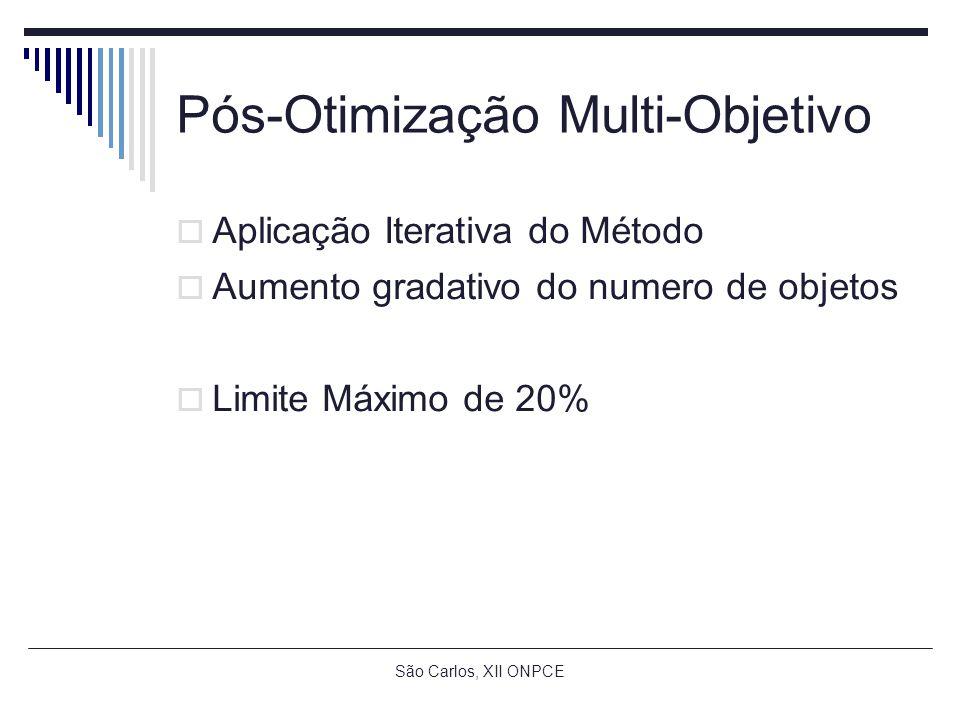 São Carlos, XII ONPCE Pós-Otimização Multi-Objetivo Aplicação Iterativa do Método Aumento gradativo do numero de objetos Limite Máximo de 20%
