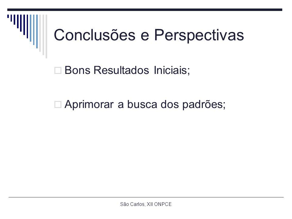 Conclusões e Perspectivas Bons Resultados Iniciais; Aprimorar a busca dos padrões;