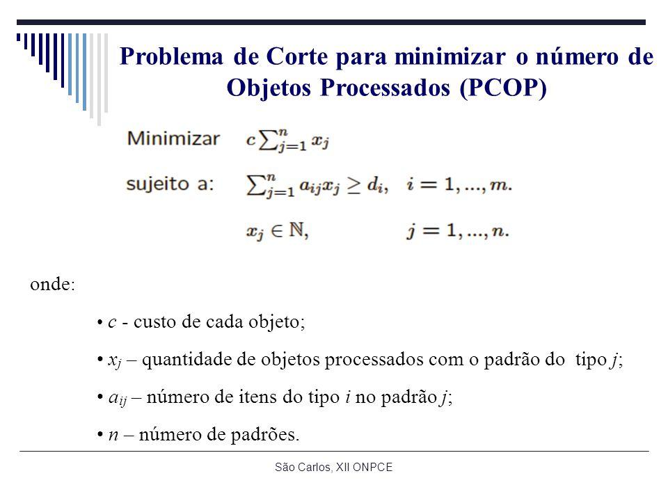 São Carlos, XII ONPCE Problema de Corte para minimizar o número de Objetos Processados (PCOP) onde : c - custo de cada objeto; x j – quantidade de objetos processados com o padrão do tipo j; a ij – número de itens do tipo i no padrão j; n – número de padrões.