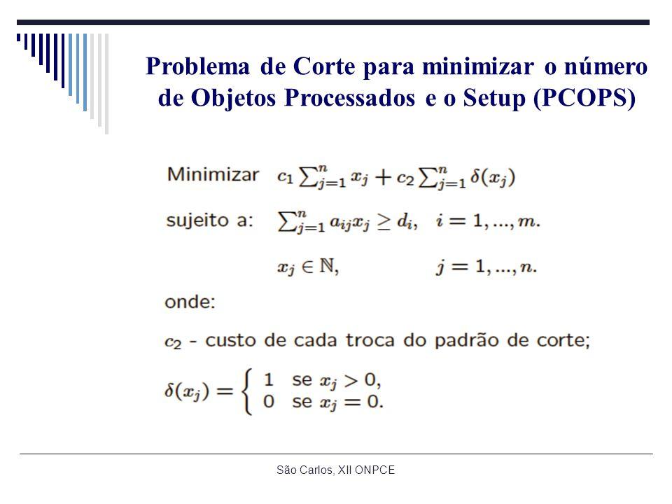 São Carlos, XII ONPCE Problema de Corte para minimizar o número de Objetos Processados e o Setup (PCOPS)