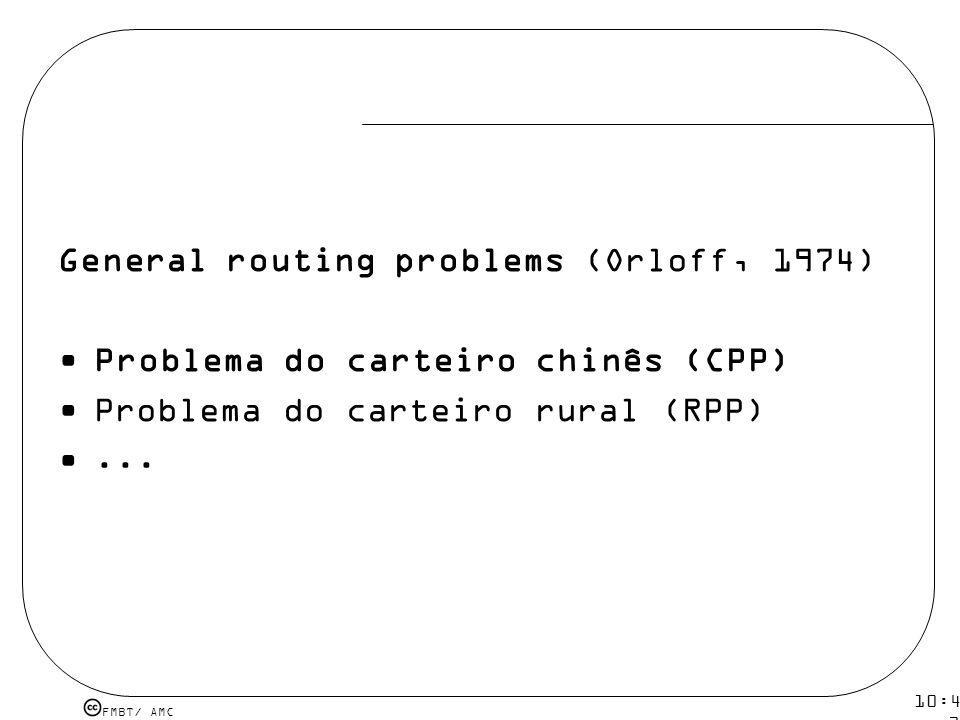 FMBT/ AMC 10:43 19 mar 2009. General routing problems (Orloff, 1974) Problema do carteiro chinês (CPP) Problema do carteiro rural (RPP)...