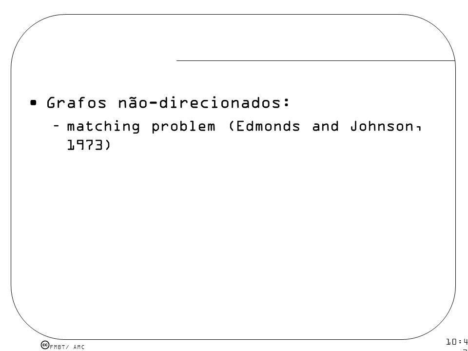 FMBT/ AMC 10:43 19 mar 2009. Grafos não-direcionados: –matching problem (Edmonds and Johnson, 1973)