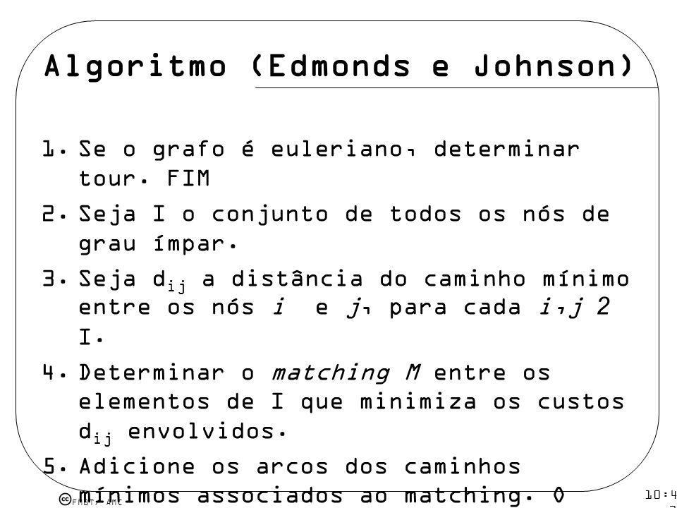 FMBT/ AMC 10:43 19 mar 2009. Algoritmo (Edmonds e Johnson) 1.Se o grafo é euleriano, determinar tour. FIM 2.Seja I o conjunto de todos os nós de grau