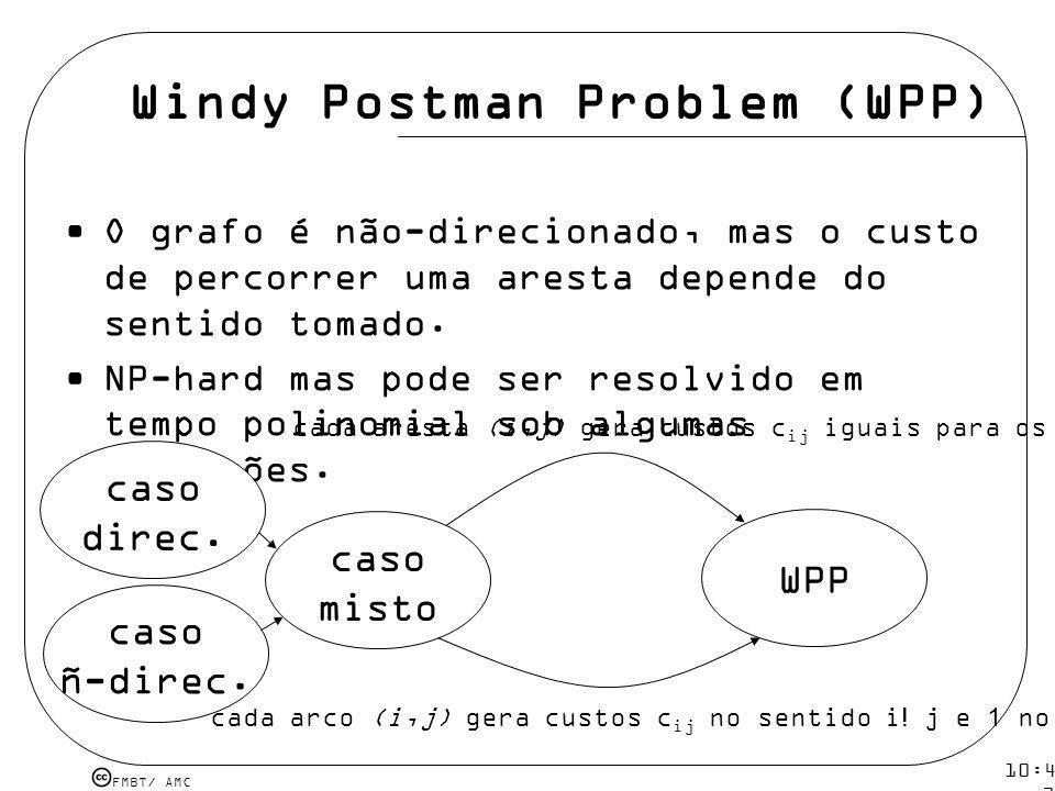 FMBT/ AMC 10:43 19 mar 2009. Windy Postman Problem (WPP) O grafo é não-direcionado, mas o custo de percorrer uma aresta depende do sentido tomado. NP-