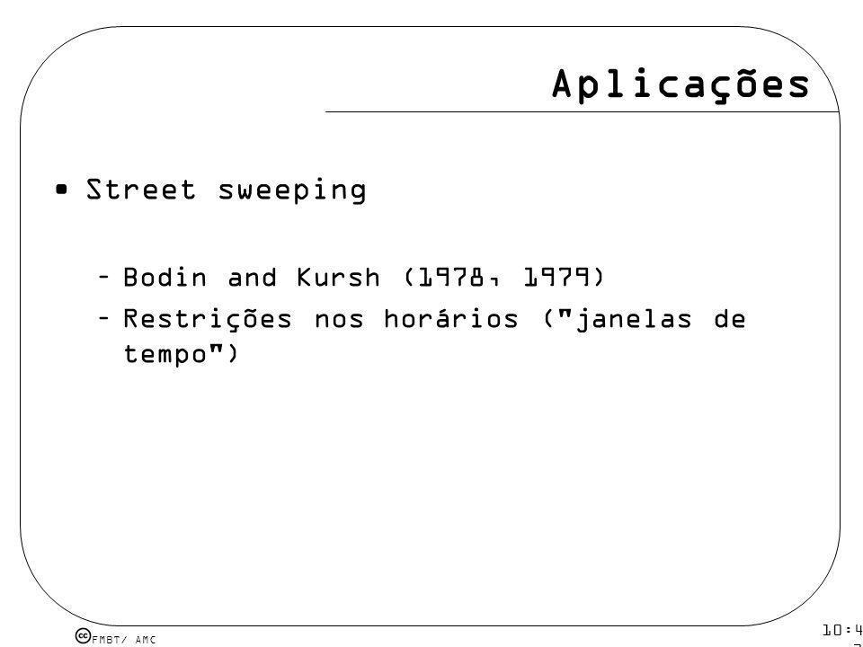 FMBT/ AMC 10:43 19 mar 2009. Aplicações Street sweeping –Bodin and Kursh (1978, 1979) –Restrições nos horários (