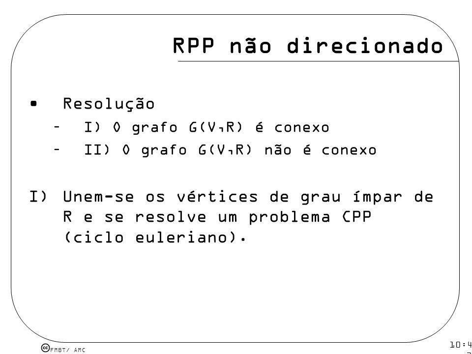 FMBT/ AMC 10:43 19 mar 2009. RPP não direcionado Resolução –I) O grafo G(V,R) é conexo –II) O grafo G(V,R) não é conexo I)Unem-se os vértices de grau