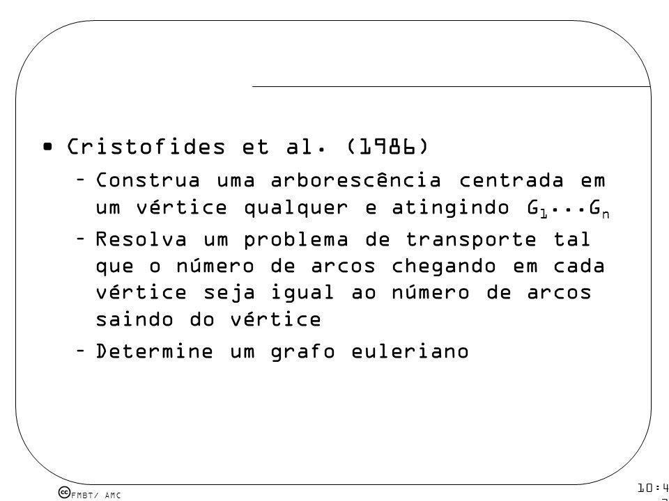 FMBT/ AMC 10:43 19 mar 2009. Cristofides et al. (1986) –Construa uma arborescência centrada em um vértice qualquer e atingindo G 1...G n –Resolva um p