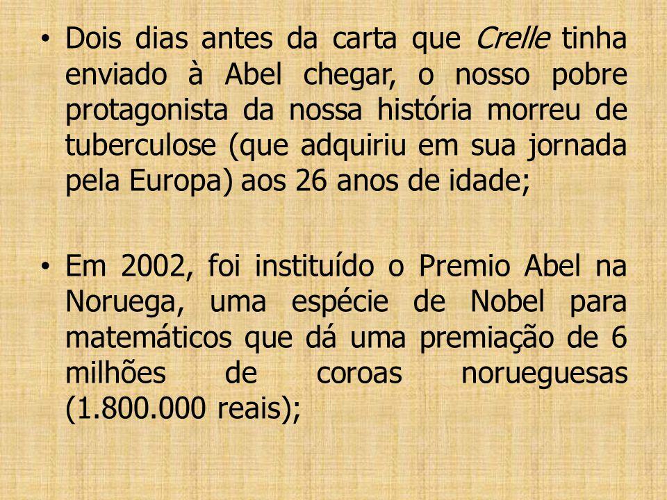 A fama de Abel espalhou-se por todos os centros matemáticos da Europa, e ele permaneceu entre a elite dos matemáticos do mundo, mas, isolado na Norueg