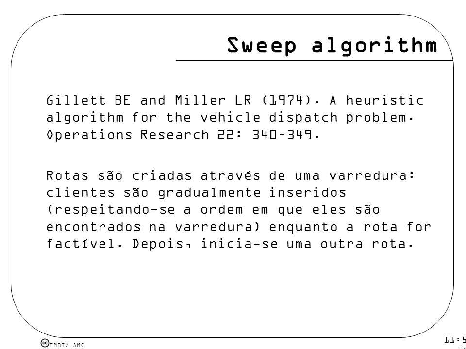 FMBT/ AMC 11:54 12 mar 2009. Sweep algorithm Gillett BE and Miller LR (1974). A heuristic algorithm for the vehicle dispatch problem. Operations Resea