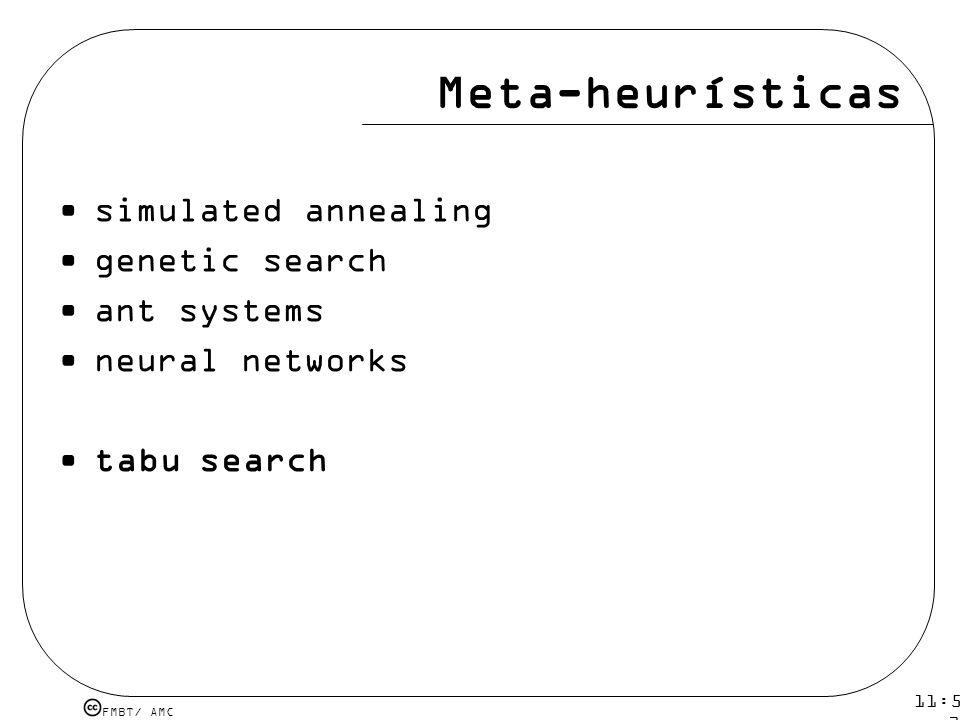 FMBT/ AMC 11:54 12 mar 2009. Meta-heurísticas simulated annealing genetic search ant systems neural networks tabu search