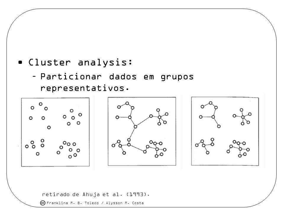 Franklina M. B. Toledo / Alysson M. Costa Cluster analysis: –Particionar dados em grupos representativos. retirado de Ahuja et al. (1993).