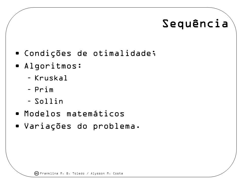 Franklina M. B. Toledo / Alysson M. Costa Sequência Condições de otimalidade; Algoritmos: –Kruskal –Prim –Sollin Modelos matemáticos Variações do prob