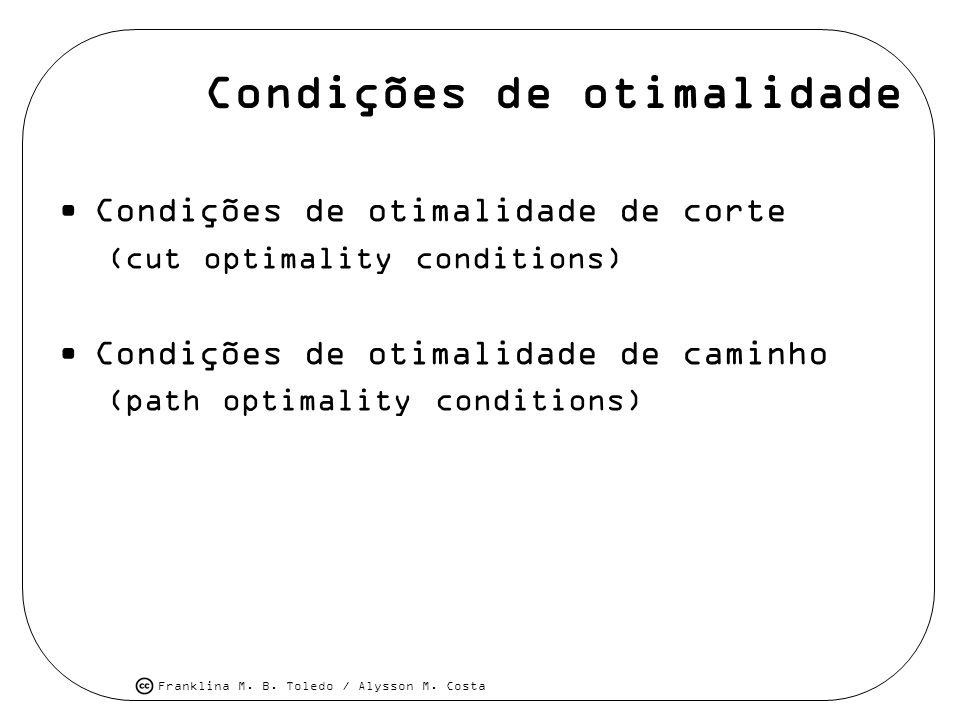 Franklina M. B. Toledo / Alysson M. Costa Condições de otimalidade Condições de otimalidade de corte (cut optimality conditions) Condições de otimalid