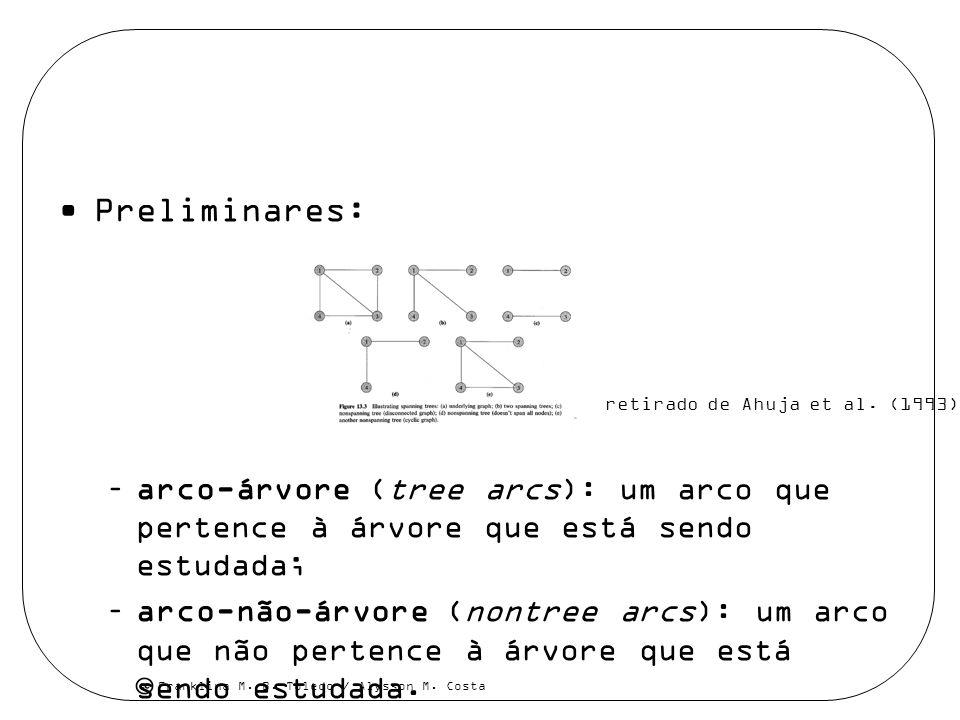 Franklina M. B. Toledo / Alysson M. Costa Preliminares: –arco-árvore (tree arcs): um arco que pertence à árvore que está sendo estudada; –arco-não-árv
