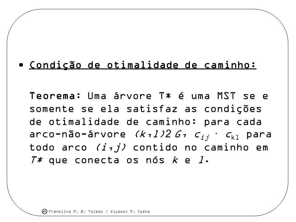 Franklina M. B. Toledo / Alysson M. Costa Condição de otimalidade de caminho: Teorema: Uma árvore T* é uma MST se e somente se ela satisfaz as condiçõ