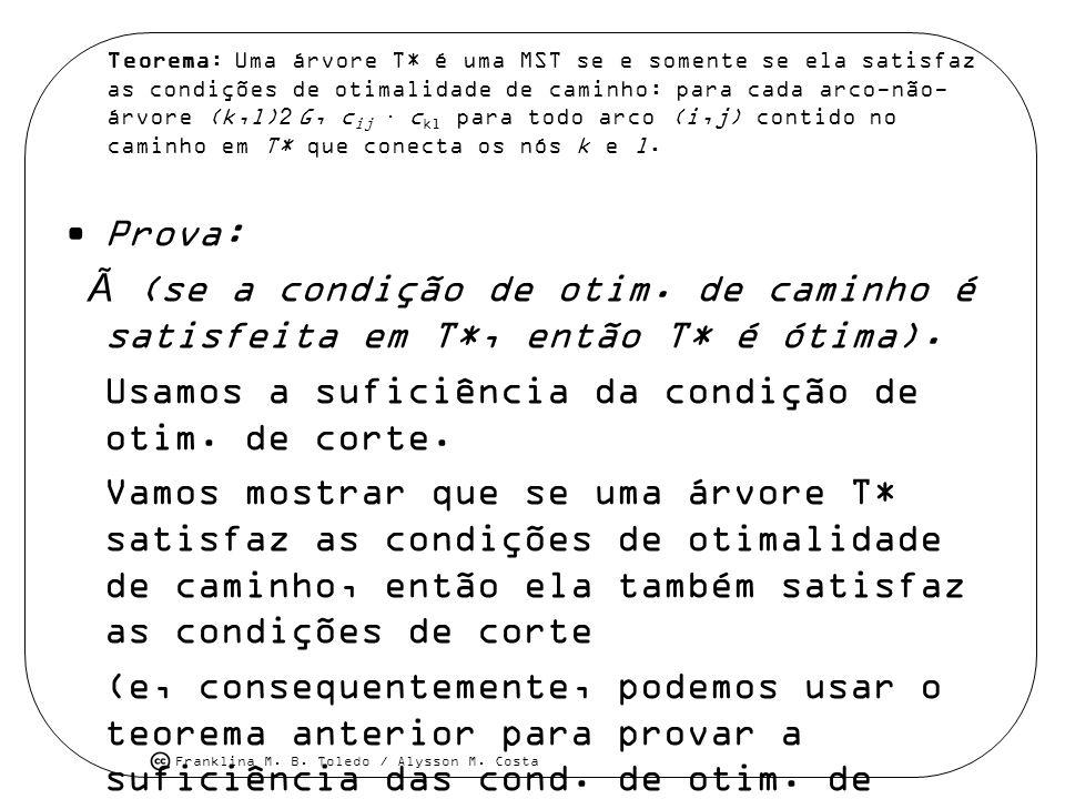 Franklina M. B. Toledo / Alysson M. Costa Teorema: Uma árvore T* é uma MST se e somente se ela satisfaz as condições de otimalidade de caminho: para c
