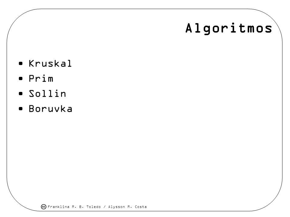 Franklina M. B. Toledo / Alysson M. Costa Algoritmos Kruskal Prim Sollin Boruvka
