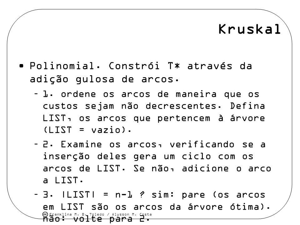 Franklina M. B. Toledo / Alysson M. Costa Kruskal Polinomial. Constrói T* através da adição gulosa de arcos. –1. ordene os arcos de maneira que os cus