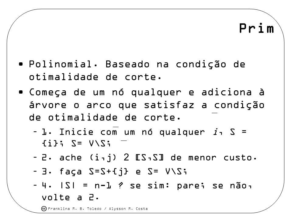 Franklina M. B. Toledo / Alysson M. Costa Prim Polinomial. Baseado na condição de otimalidade de corte. Começa de um nó qualquer e adiciona à árvore o