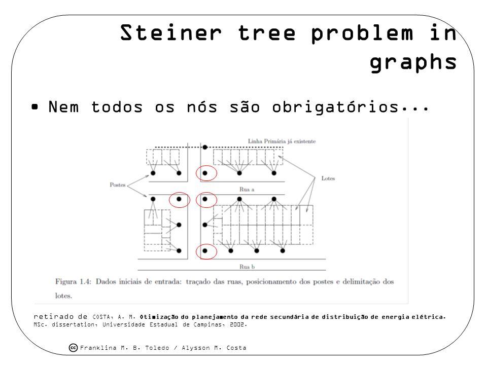 Franklina M. B. Toledo / Alysson M. Costa Steiner tree problem in graphs Nem todos os nós são obrigatórios... retirado de COSTA, A. M. Otimização do p