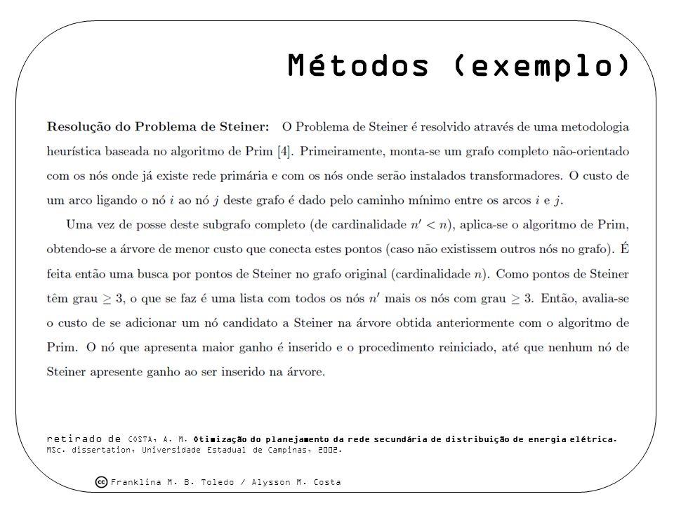 Franklina M. B. Toledo / Alysson M. Costa Métodos (exemplo) retirado de COSTA, A. M. Otimização do planejamento da rede secundária de distribuição de
