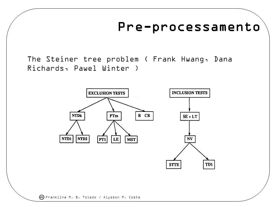 Franklina M. B. Toledo / Alysson M. Costa Pre-processamento The Steiner tree problem ( Frank Hwang, Dana Richards, Pawel Winter )