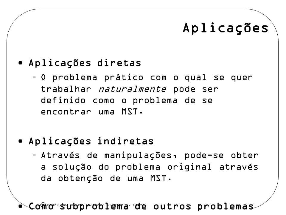 Franklina M. B. Toledo / Alysson M. Costa Aplicações Aplicações diretas –O problema prático com o qual se quer trabalhar naturalmente pode ser definid