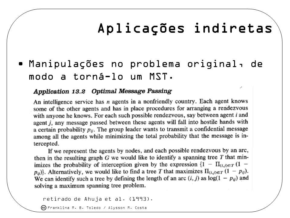 Franklina M. B. Toledo / Alysson M. Costa Aplicações indiretas Manipulações no problema original, de modo a torná-lo um MST. retirado de Ahuja et al.