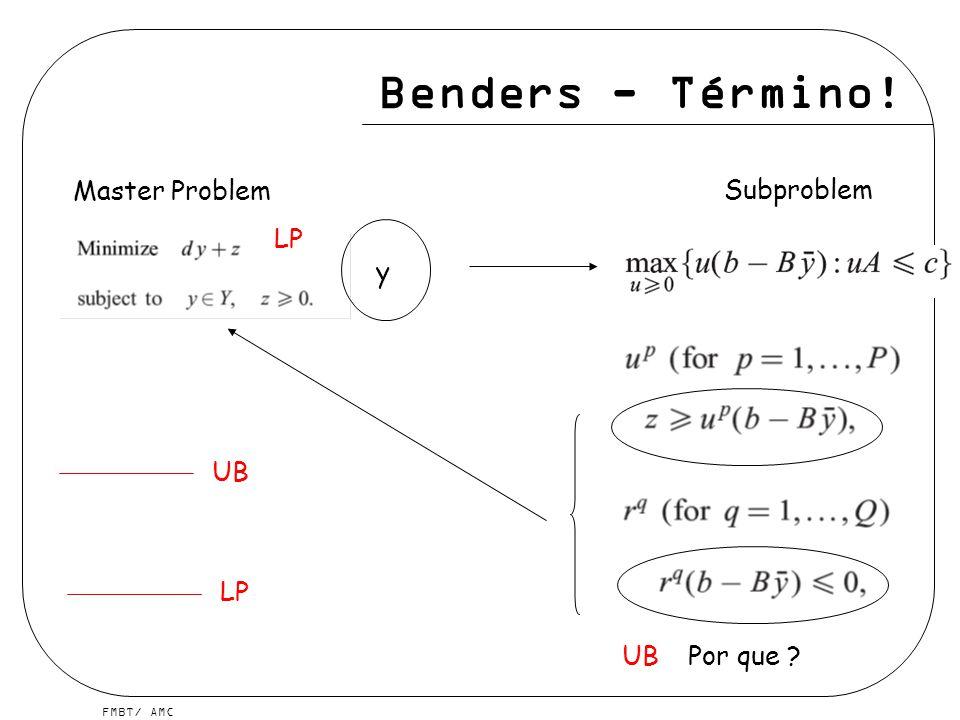 FMBT/ AMC Benders - Término! y LP UB LP UB Master Problem Subproblem Por que ?