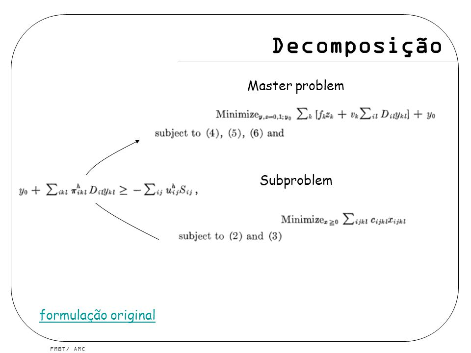 FMBT/ AMC Decomposição Master problem formulação original Subproblem