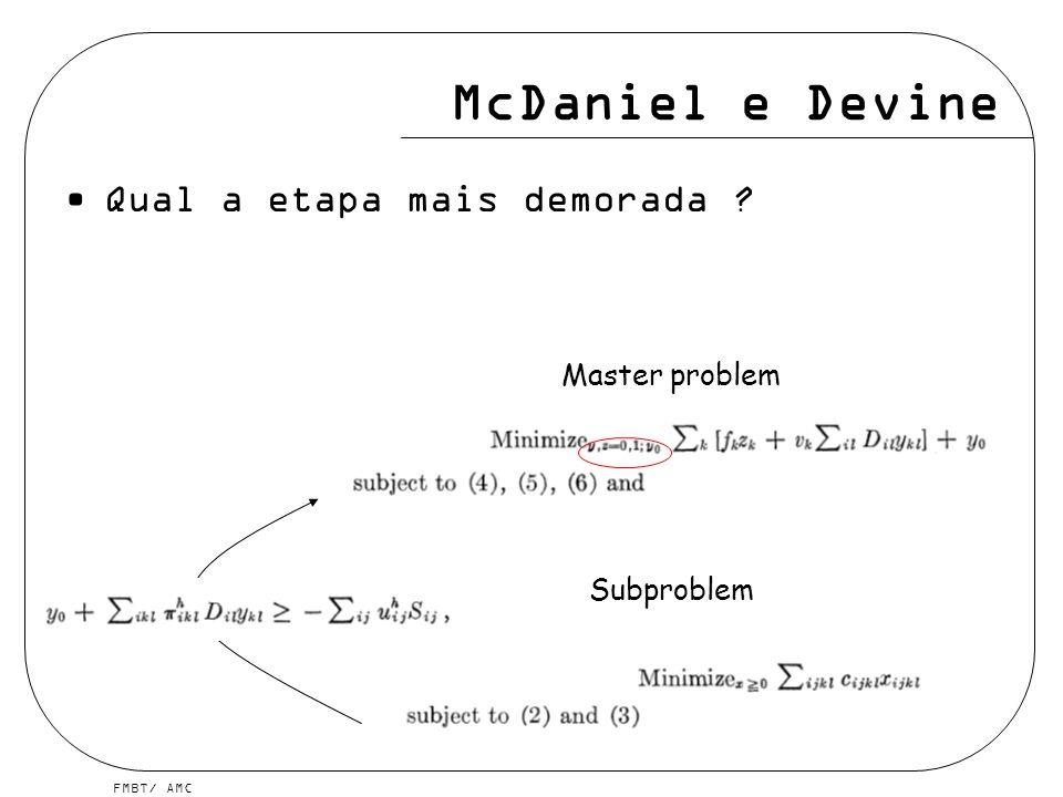 FMBT/ AMC McDaniel e Devine Qual a etapa mais demorada ? Master problem Subproblem