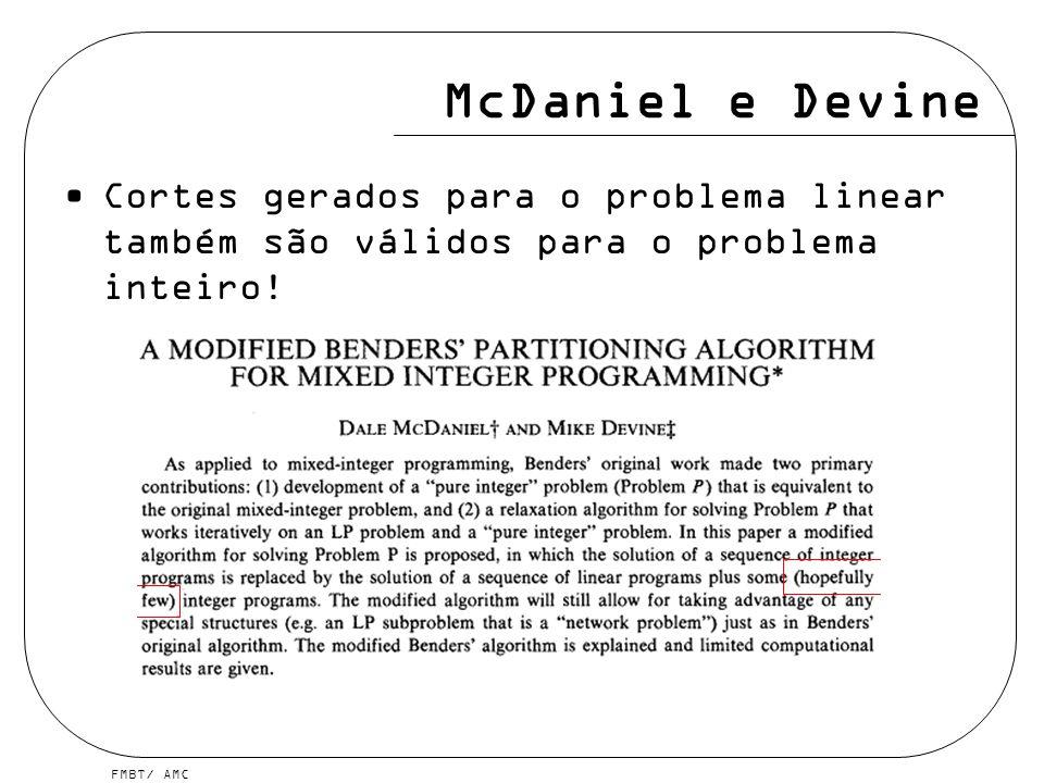 FMBT/ AMC McDaniel e Devine Cortes gerados para o problema linear também são válidos para o problema inteiro!