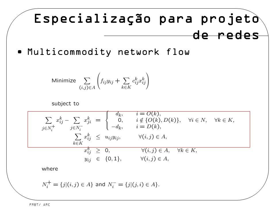 FMBT/ AMC Multicommodity network flow Especialização para projeto de redes